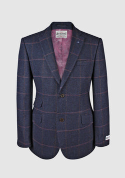 Patrick Jacket Yorkshire Tweed, navy/pink herringbone