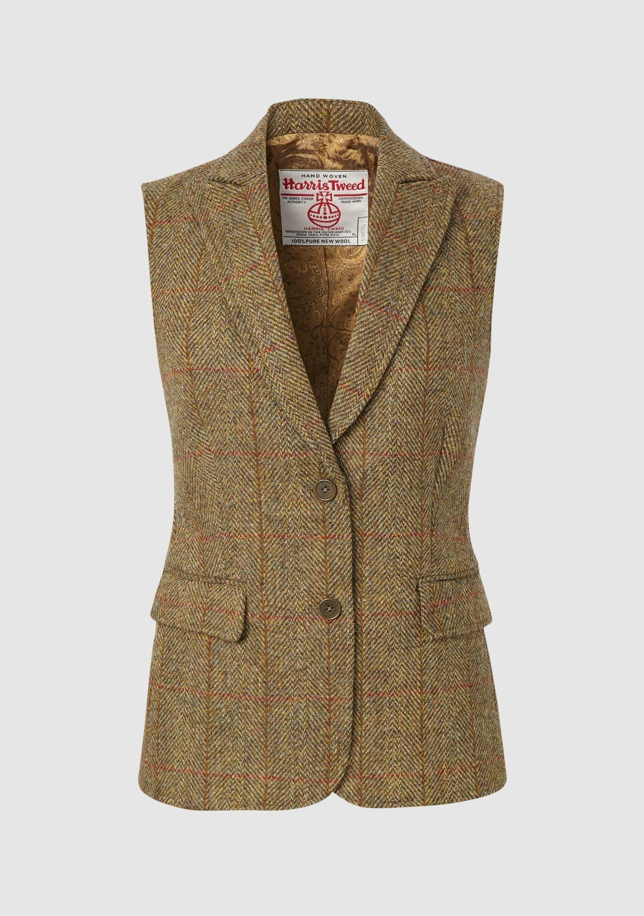 Image of   Pippa Waistcoat Harris Tweed, mustard herringbone