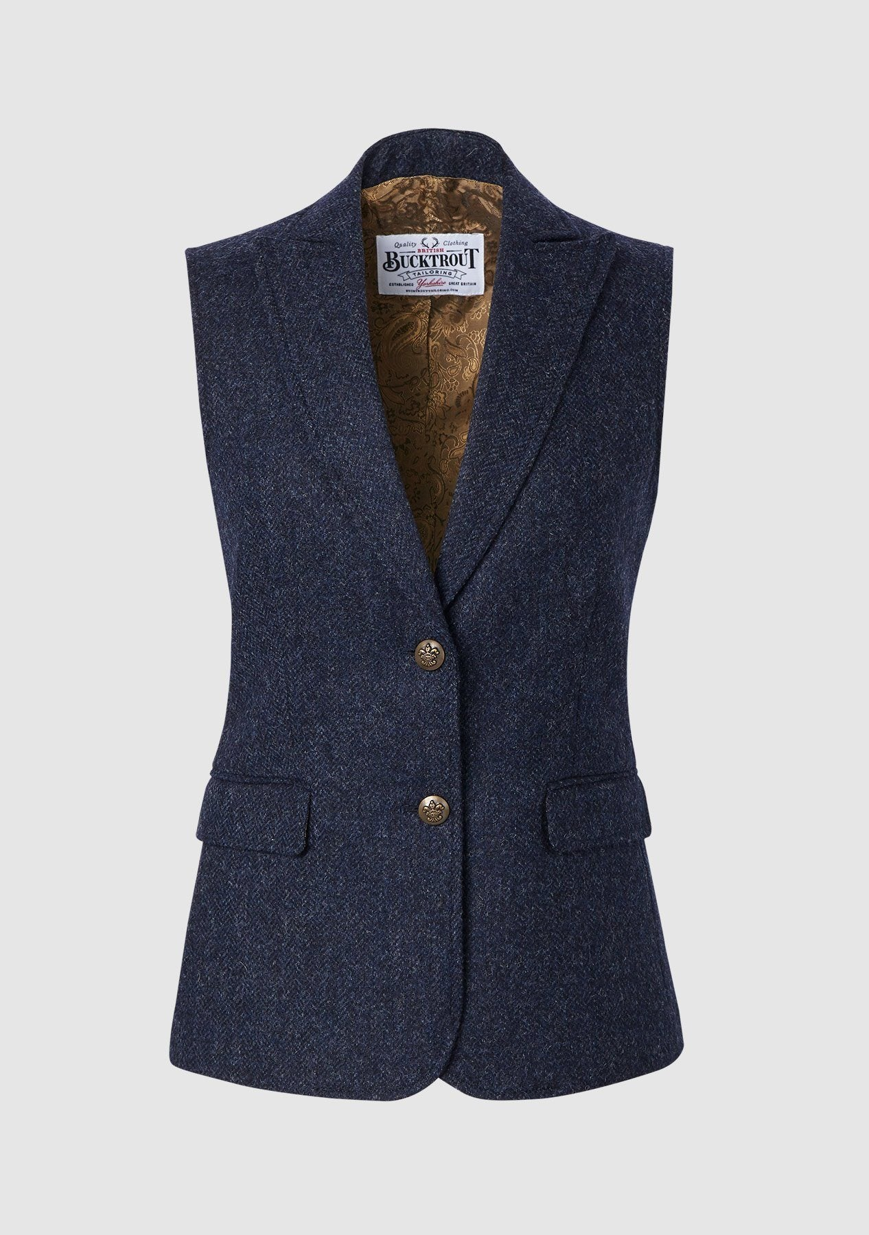 Image of   Pippa Waistcoat Yorkshire Tweed, blå herringbone