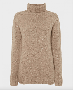 Cashmere Mix Roll Neck, Cafelatte