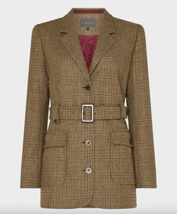 Belted Tweed Jacket, Ivy Green