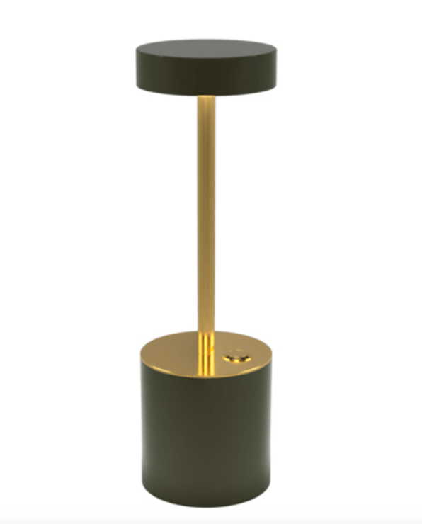 TakeMe I battery table lamp, olivengrøn/messing