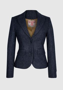 Tammy Short Jacket Harris Tweed, navyblå herringbone