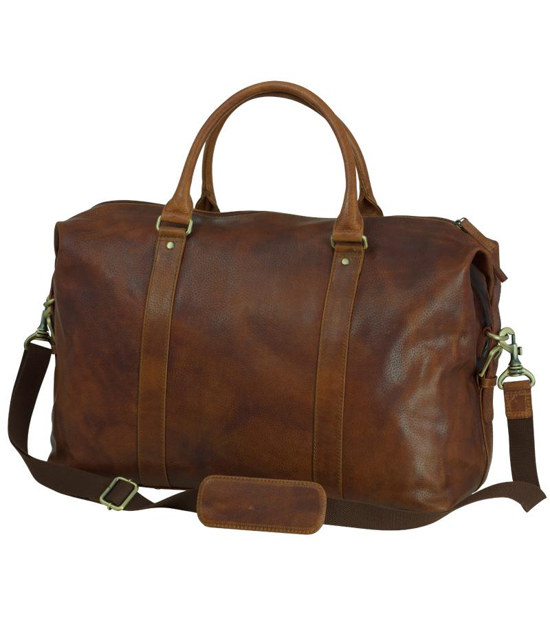 Leather Weekend Travel Bag, tan