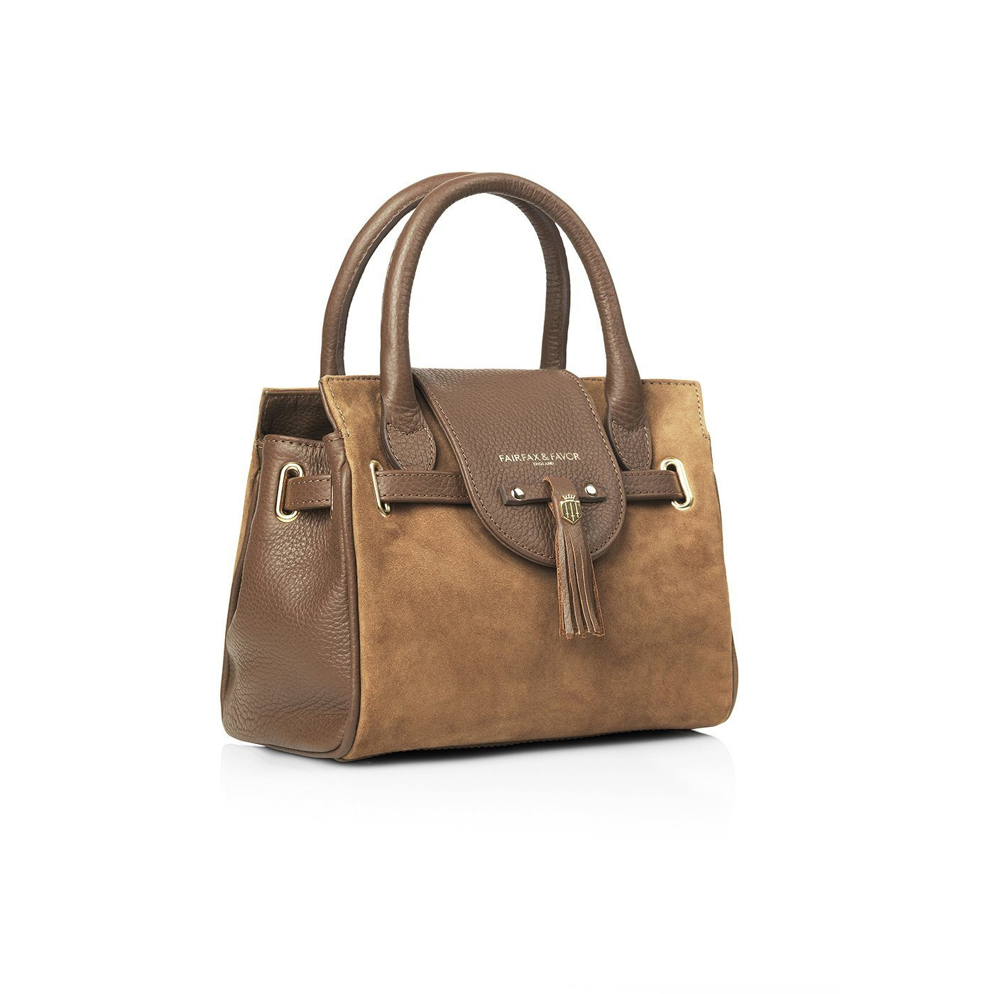 Mini Windsor Leather & Suede Handbag, tan/lysbrun