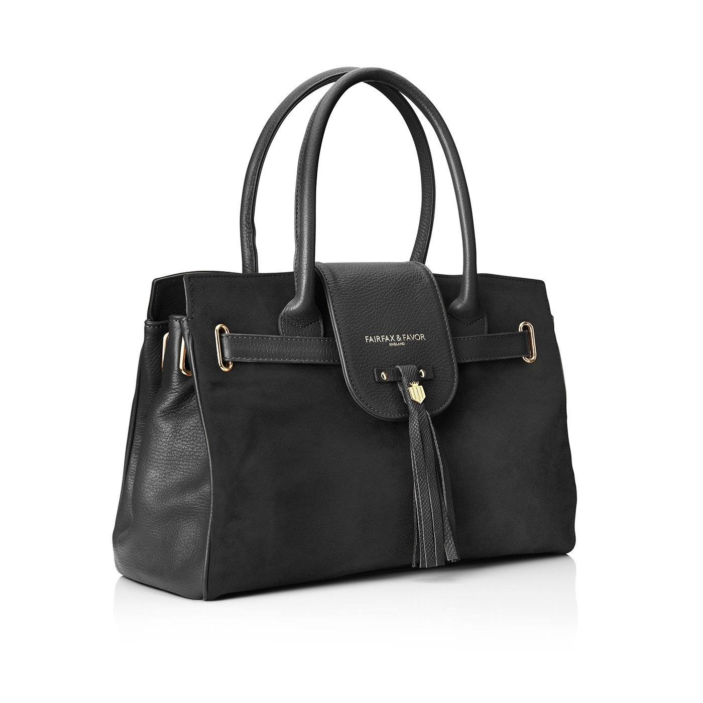Windsor Leather & Suede Handbag, sort