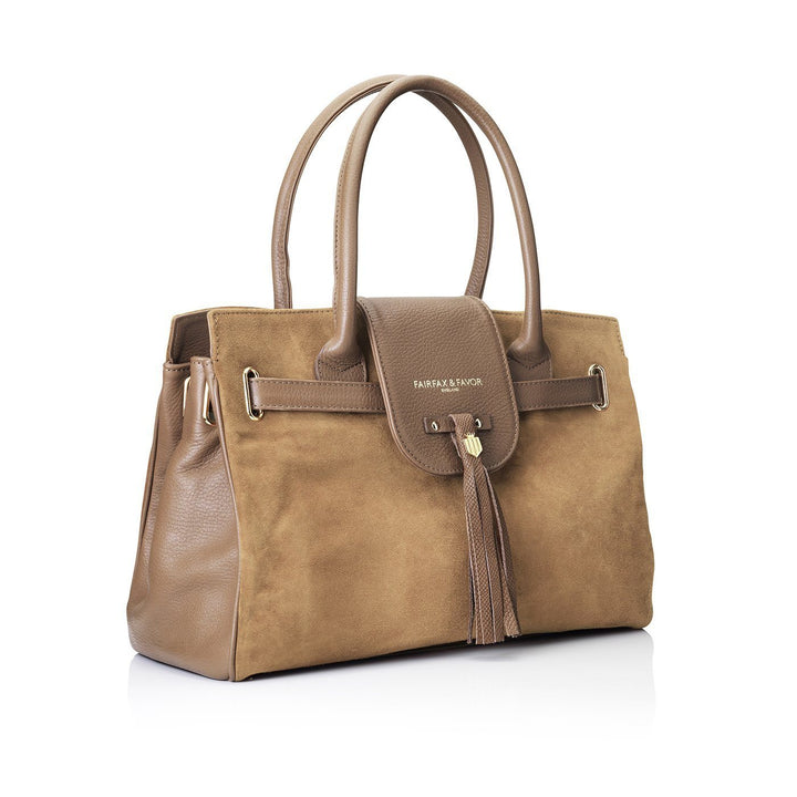 Windsor Leather & Suede Handbag, tan/lysbrun
