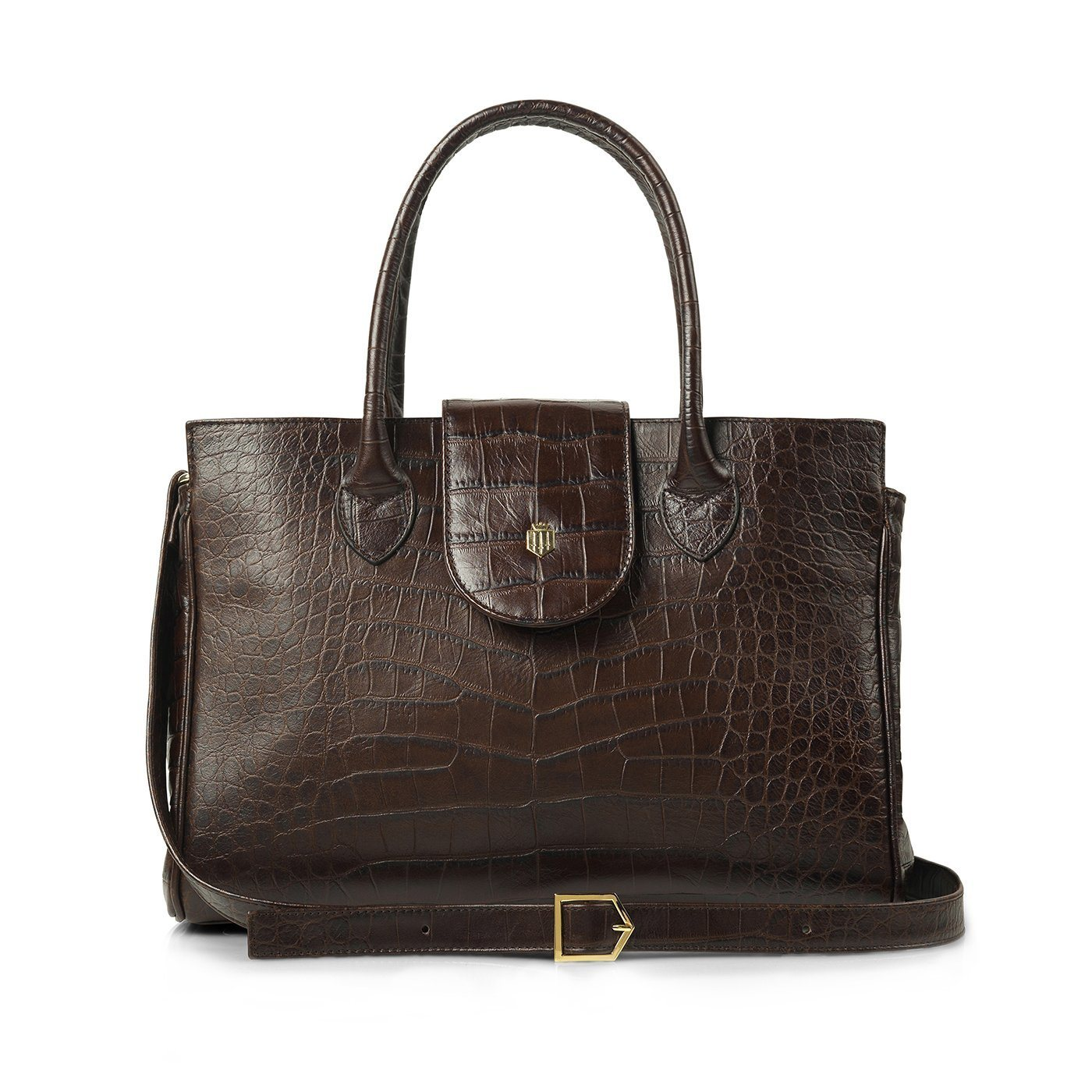 Langley Leather Handbag, chocolate croc print