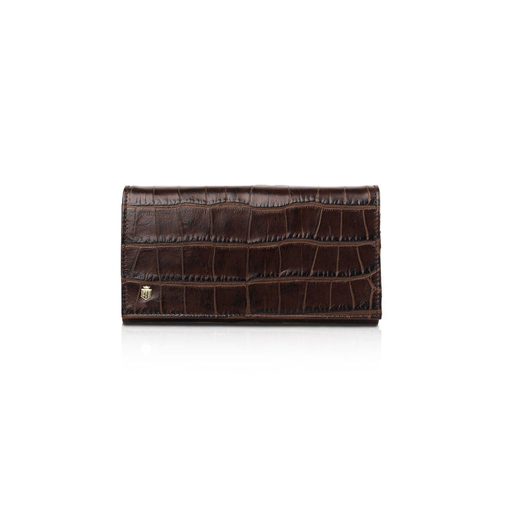 Grosvenor Ladies Purse, pung, chocolate croc print