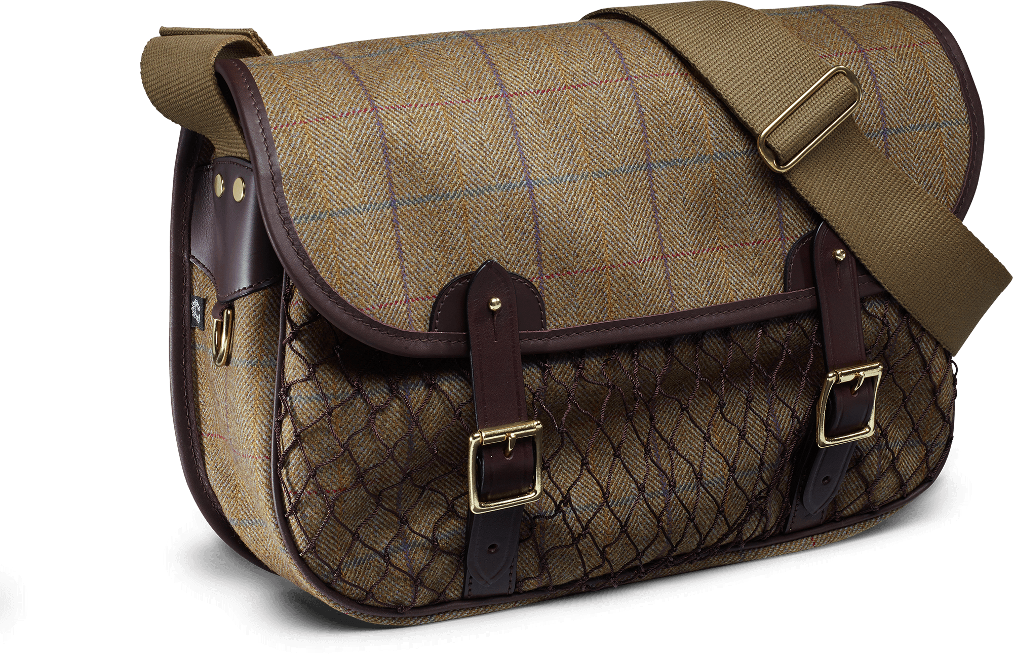 Image of   CROOTS Helmsley Netted Carryall, tweed, burgundy