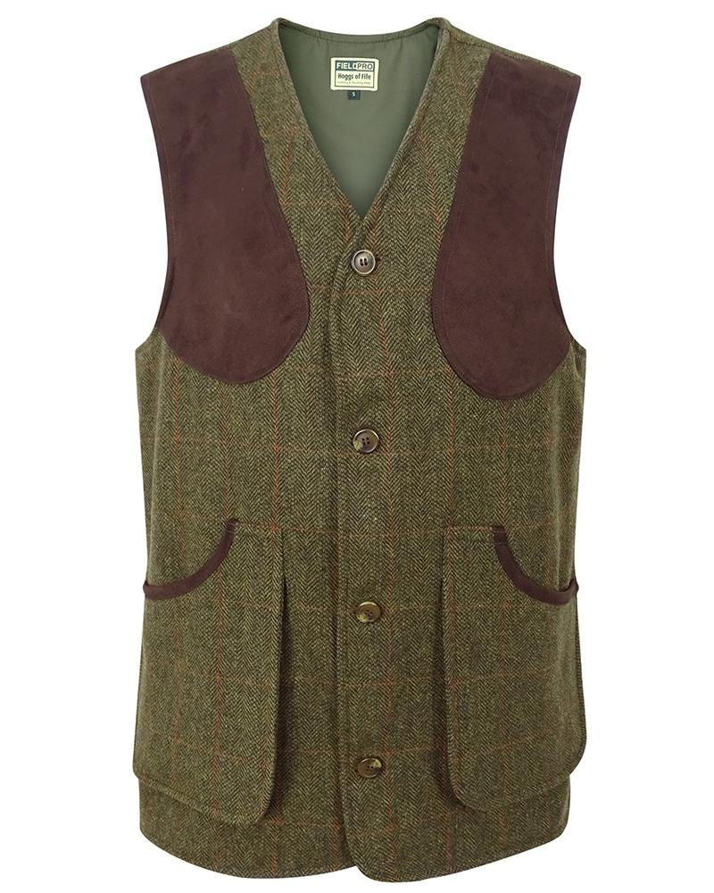 Image of   Harewood lambswool tweed shooting vest, mørk grøn herringbone