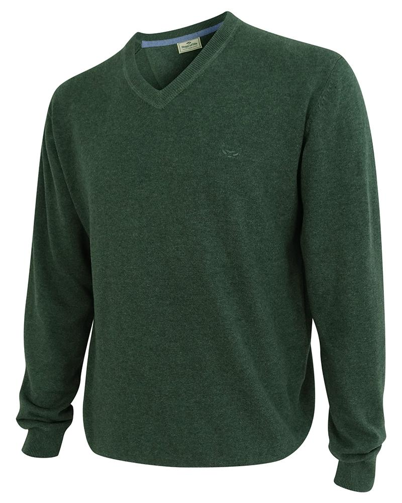 Image of   Stirling pullover, bomuld, v-hals, grøn