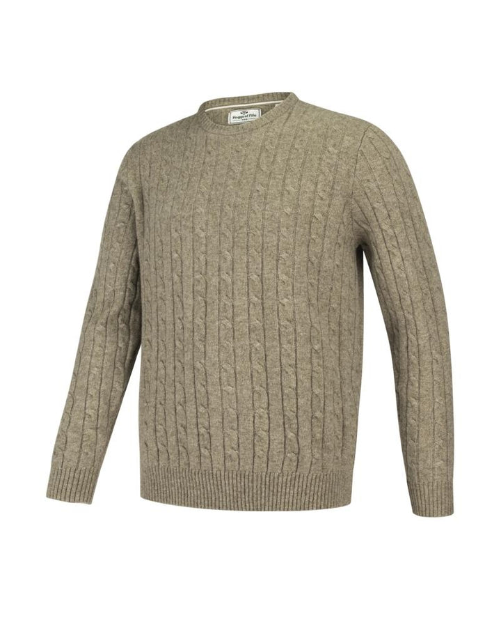 Jedburgh Crew Neck Cable Pullover, uldmix, oatmeal