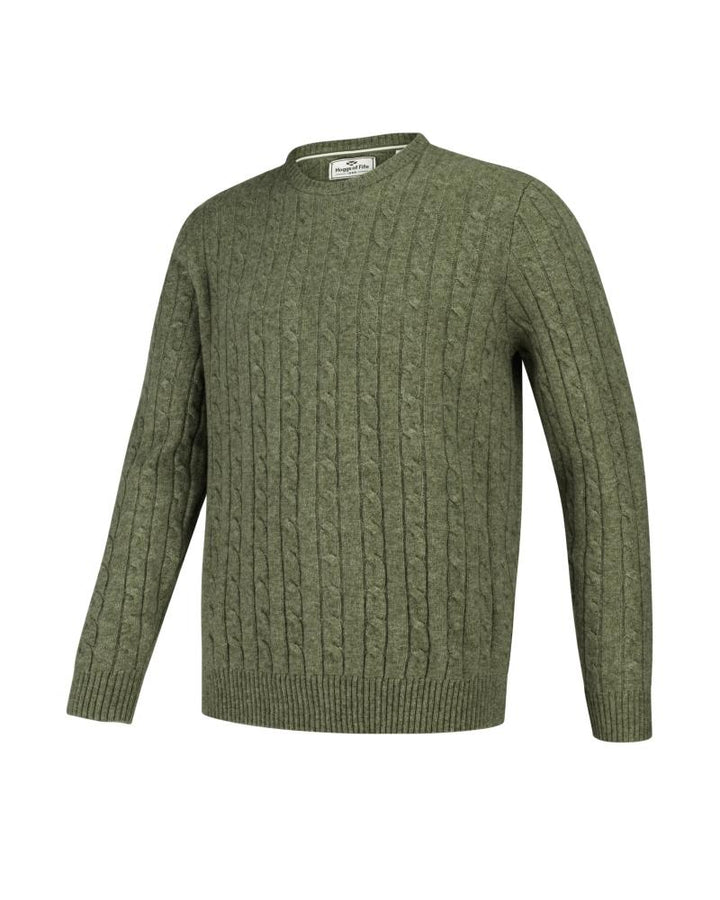 Jedburgh Crew Neck Cable Pullover, timiangrøn