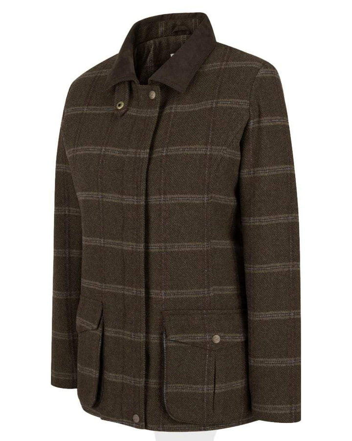 Musselburgh Ladies Tweed Field Coat jakke, brun m. bordeux tern