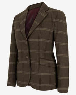 Musselburgh Ladies Tweed Hacking Jacket blazer, brun m. bordeux tern