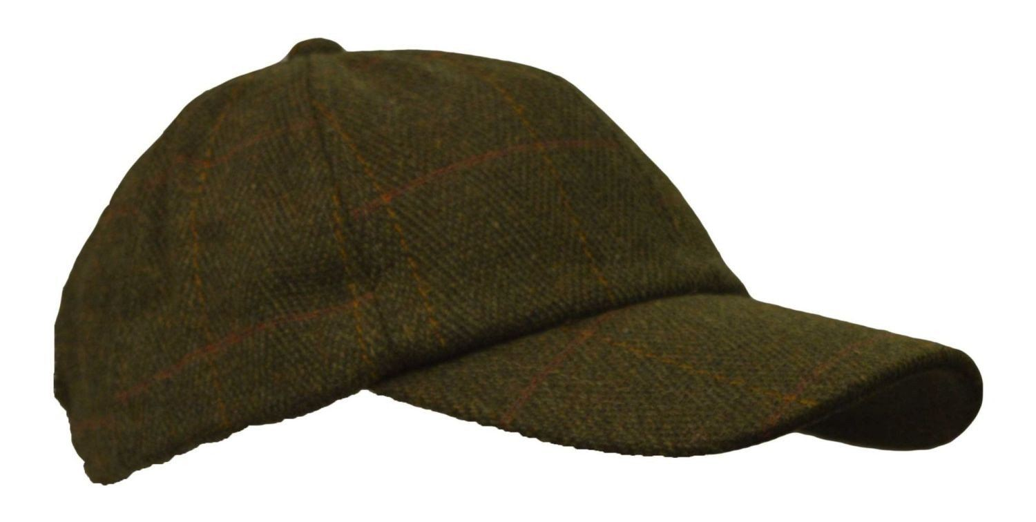 Image of   Tweed baseball cap, one size, mørk grøn