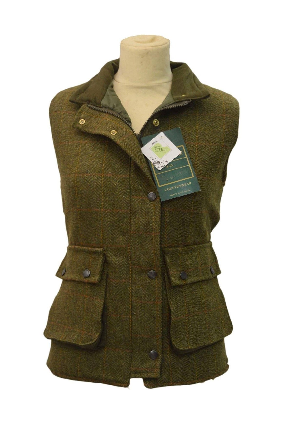 Tweed Country Ladies Gillet, vest, mørk grøn