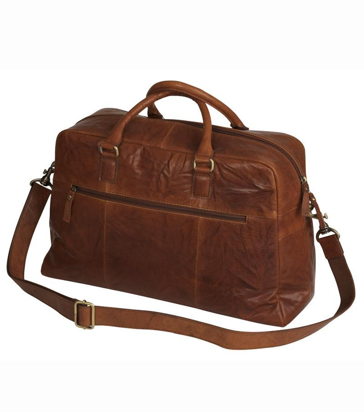 Leather Holdall Bag, weekend rejsetaske, cognac