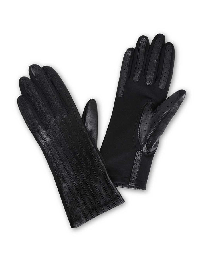 Ribbed Leather Gloves kørehandsker til ladies, sort