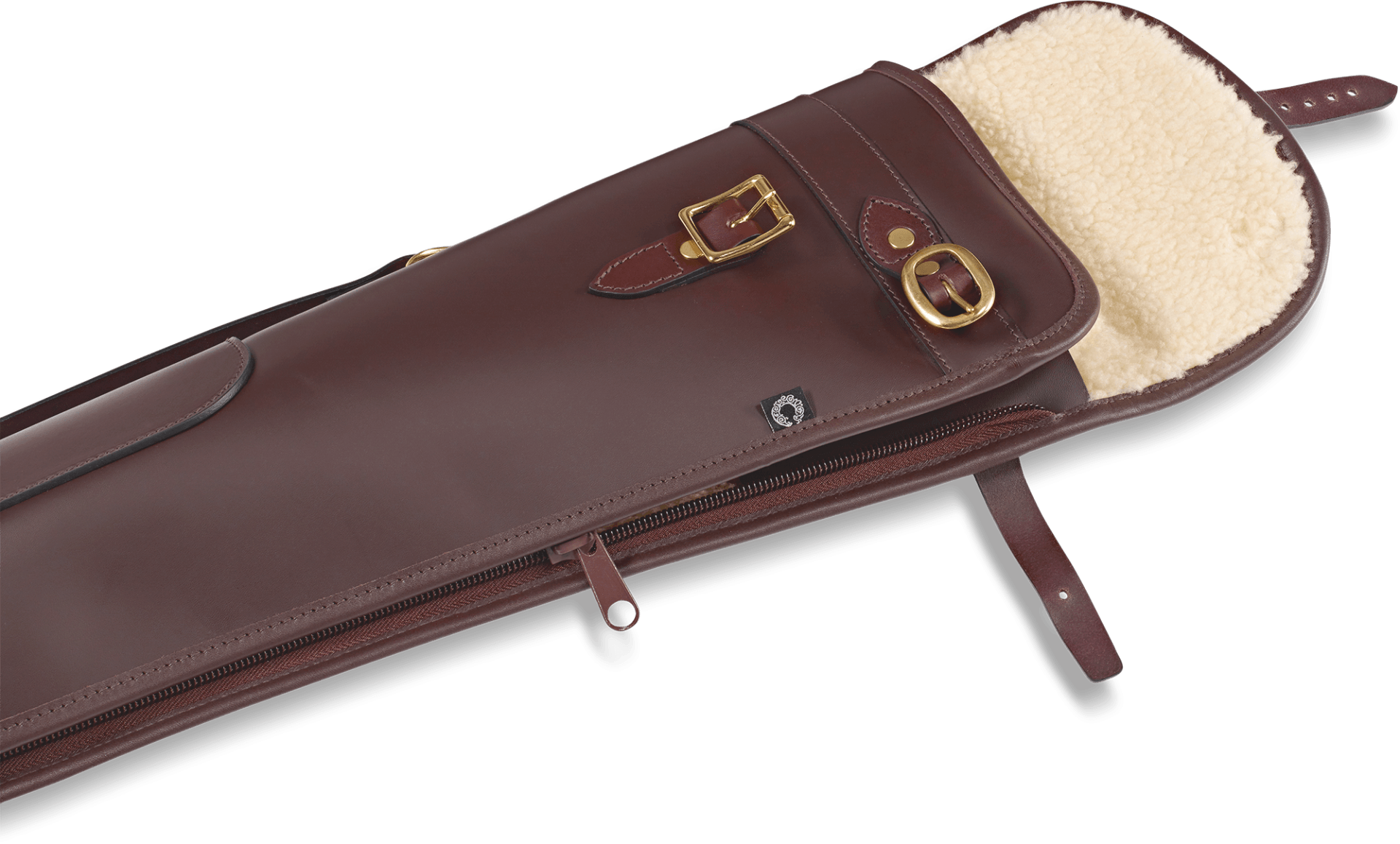 CROOTS Byland Shotgun Slip zip/flap, læder, oxblood