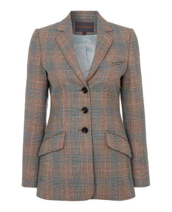 Image of   Ledbury Longer Tweed Jacket, Coco Turquoise Pink