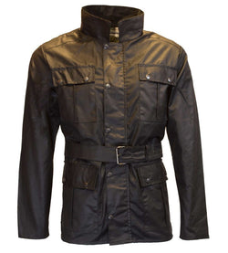 Motorcycle Explorer jakke, sort oilskin