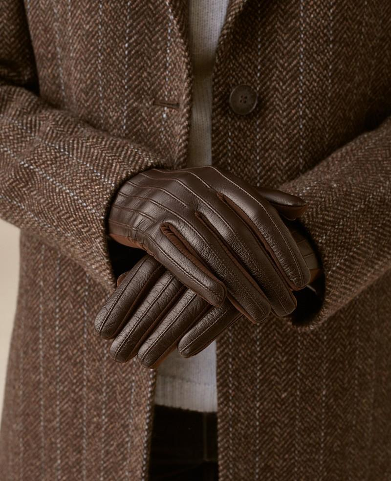 Ribbed Leather Gloves kørehandsker, moccabrun