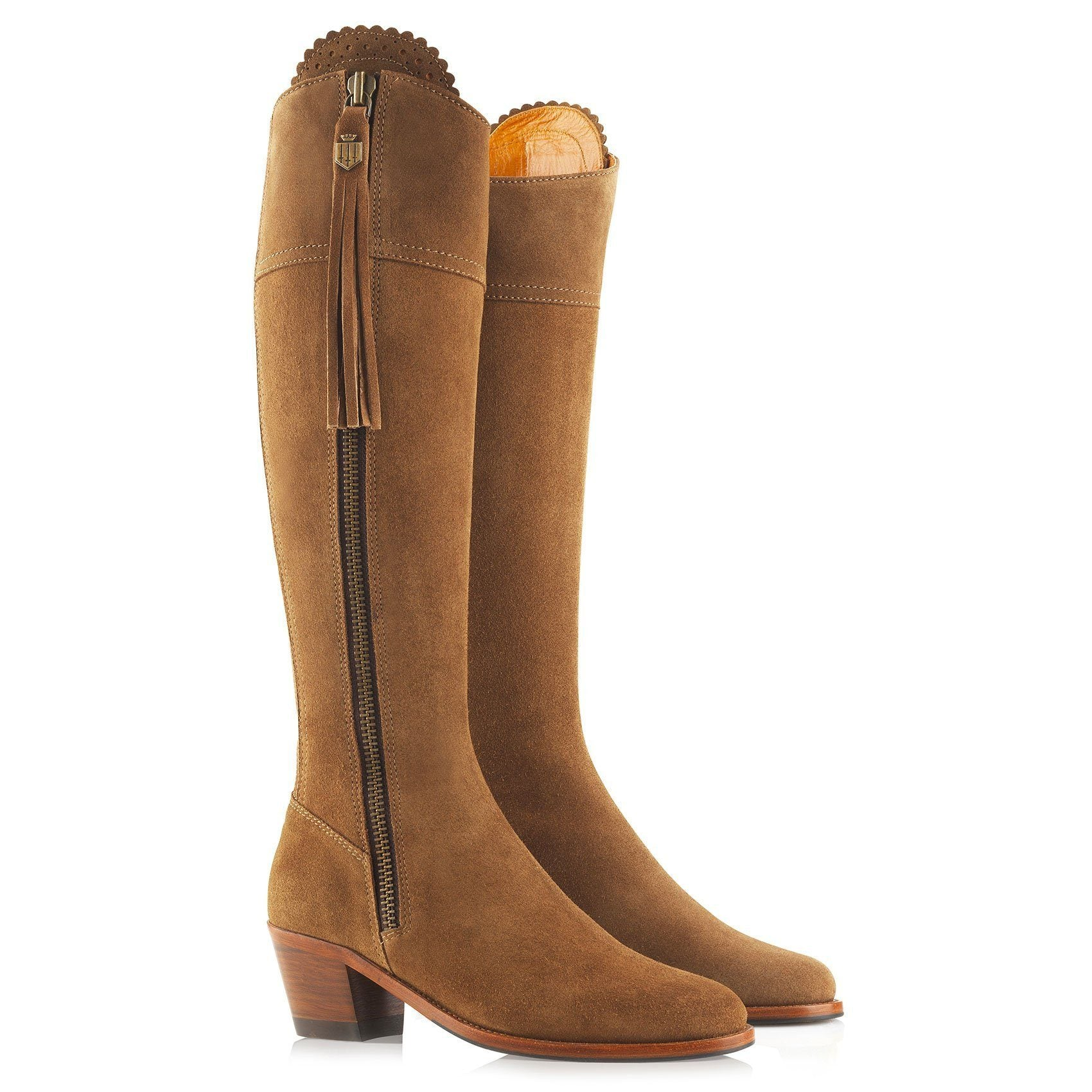 Regina Suede Heeled Boot, tan/lysebrun