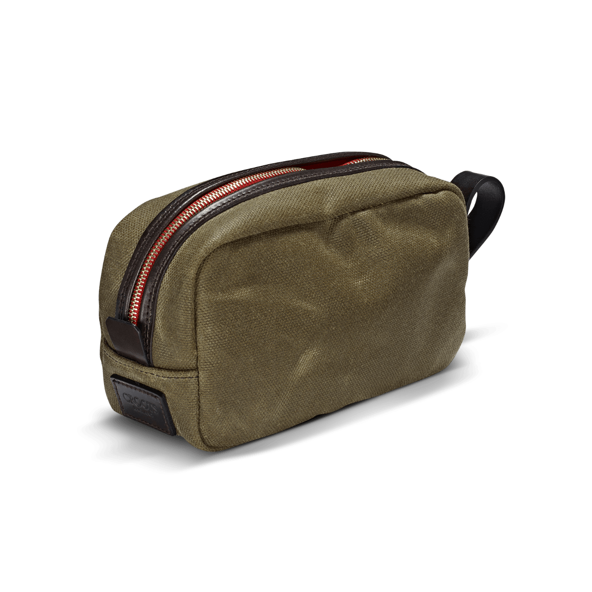CROOTS Vintage Wash Bag, waxed kanvas, oliven