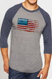 Vintage Flag - Navy/Heather Raglan