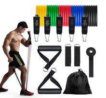 Load image into Gallery viewer, Total body 11pc Resistance Band Set - superhumanhomefitness