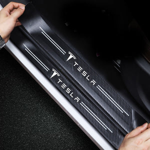 4pc Tesla Sticker Door sill plate cover Carbon Fiber  model 3 model X Y S car accessories