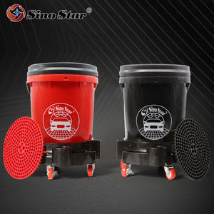 2 car wash buckets with grit guards
