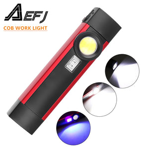 Portable 4 Mode COB Flashlight UV Torch USB Rechargeable LED Work Light