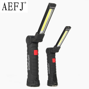 Flashlight Torch USB Rechargeable LED Work Light Magnetic COB Hanging Hook