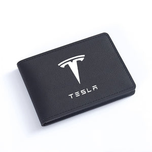 Premium Tesla hand-woven leather card holder Black or Pink