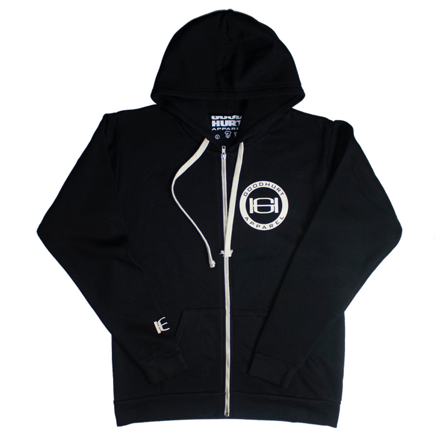 GOODHURT - Black Unisex Fleece Zip Hoodie