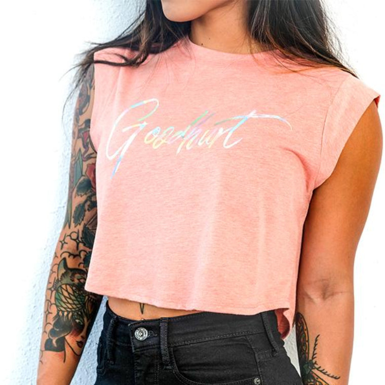 GOODHURT - Holographic Cropped Top Tee