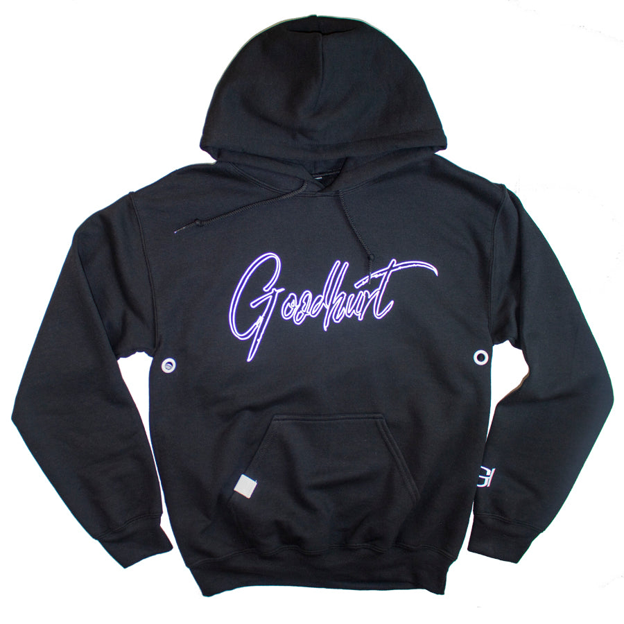 GOODHURT - Black Scripted Outline Hoodie