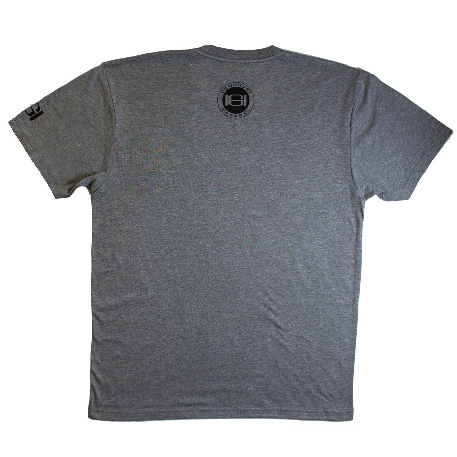GOODHURT - Grey/Black Tri-Blend T-Shirt Back