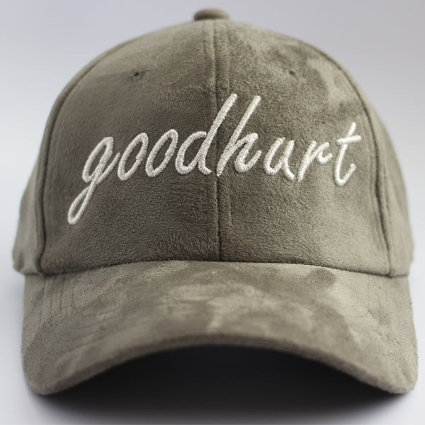 GOODHURT - Dad Hat w/ Metallic Script Logo and Suede Finish