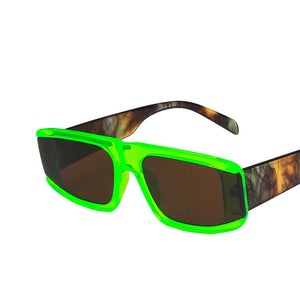 Donna Glitch - Green Rectangular Sunglasses