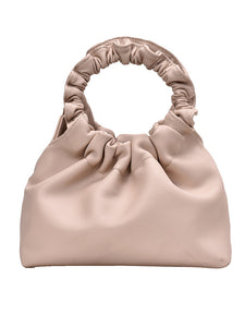 Ivana - Smooth Rouched Cream Handle Shoulder Bag