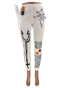 Teyanna - White Graphic Sweat Pants