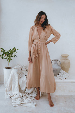 Ivory Bamboo Maxi and the Bamboo Button-Down Maxi