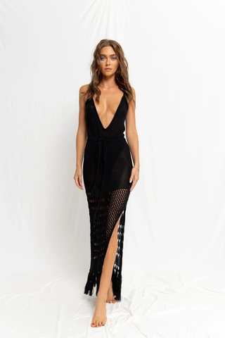 Black Crochet V Neck Cover-Up