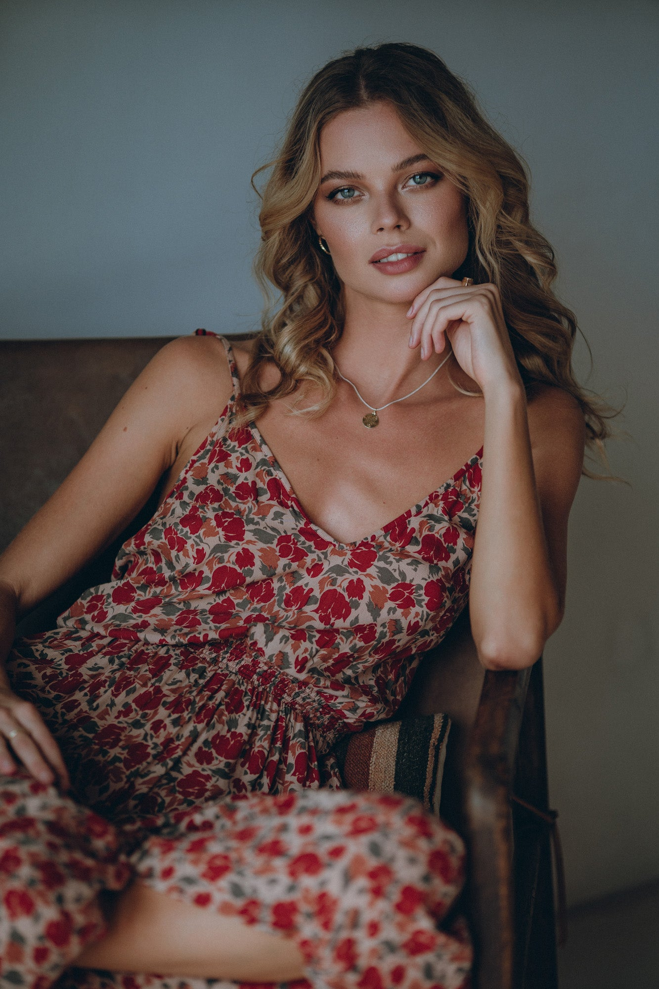 beautiful model in a floral dress