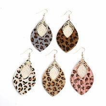 Load image into Gallery viewer, faux leather leopard earrings