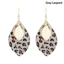 Load image into Gallery viewer, Leopard Print Faux Leather Earrings